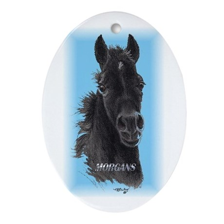 """Black Filly """"Morgans"""" Oval Ornament"""