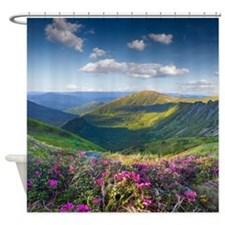 Floral Mountain Landscape Shower Curtain