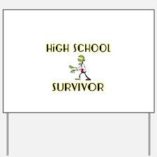 High School Survivor-Zombie-yellow Yard Sign