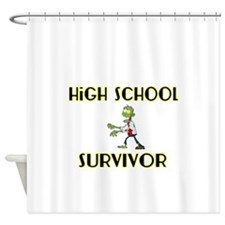 High School Survivor-Zombie-yellow Shower Curtain