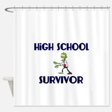 High School Survivor-Zombie-blue Shower Curtain