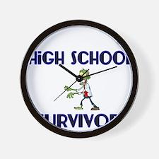 High School Survivor-Zombie-blue Wall Clock