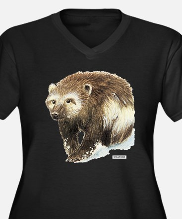 Wolverine Animal Women's Plus Size V-Neck Dark T-S