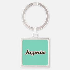 Jazmin Aqua Square Keychain