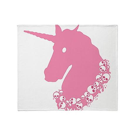 Pink Zombie Unicorn Throw Blanket