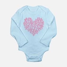 Pink Skull Heart Long Sleeve Infant Bodysuit