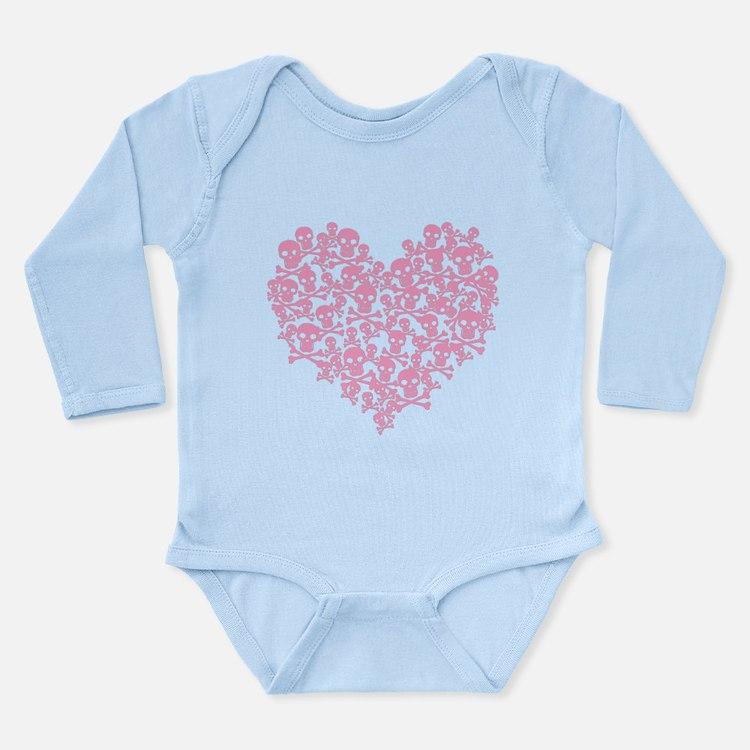 Pink Skull Heart Long Sleeve Infant Bodysuit