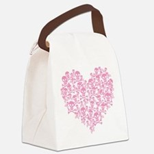 Pink Skull Heart Canvas Lunch Bag