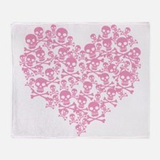Pink Skull Heart Throw Blanket