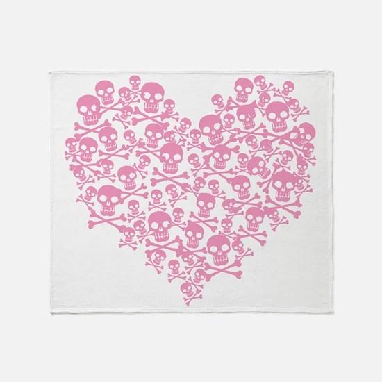 Pink Skull Heart Throw Blanket