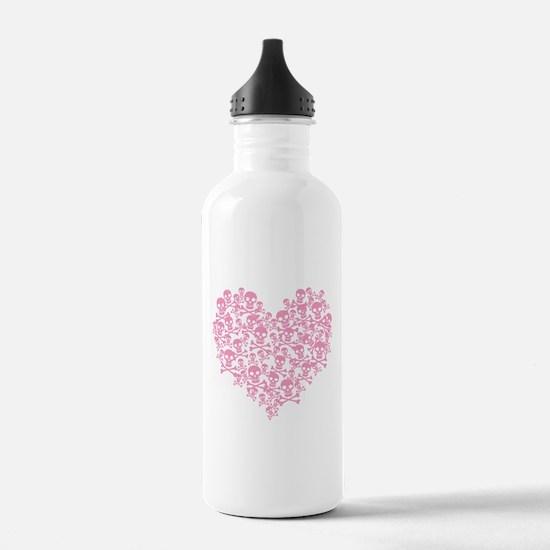 Pink Skull Heart Water Bottle