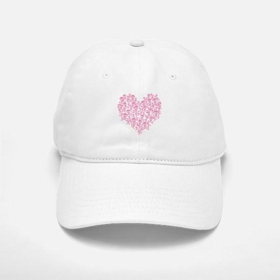 Pink Skull Heart Baseball Baseball Cap