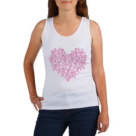 Pink Skull Heart Women's Tank Top
