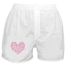 Pink Skull Heart Boxer Shorts