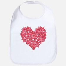 Pink Red Skull Heart Bib