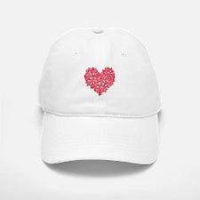 Pink Red Skull Heart Baseball Baseball Cap