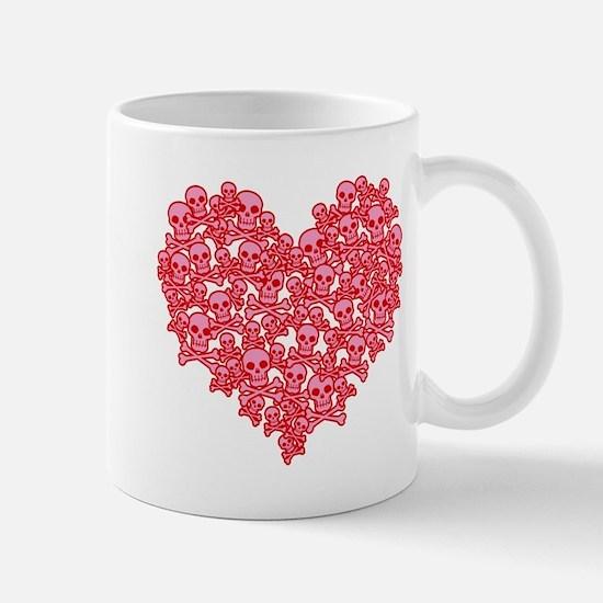 Pink Red Skull Heart Mug