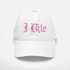 Pink I Bite Text Baseball Baseball Cap