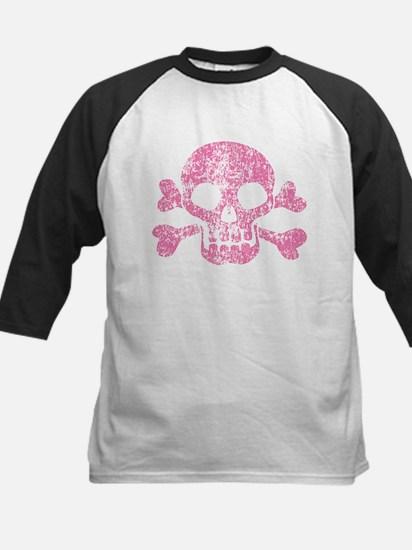 Worn Pink Skull And Crossbones Kids Baseball Jerse