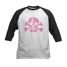 Worn Pink Skull And Crossbones Tee