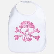 Worn Pink Skull And Crossbones Bib