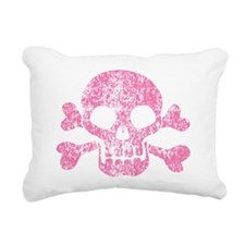 Worn Pink Skull And Crossbones Rectangular Canvas