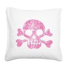Worn Pink Skull And Crossbones Square Canvas Pillo