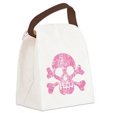 Worn Pink Skull And Crossbones Canvas Lunch Bag
