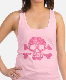 Worn Pink Skull And Crossbones Racerback Tank Top