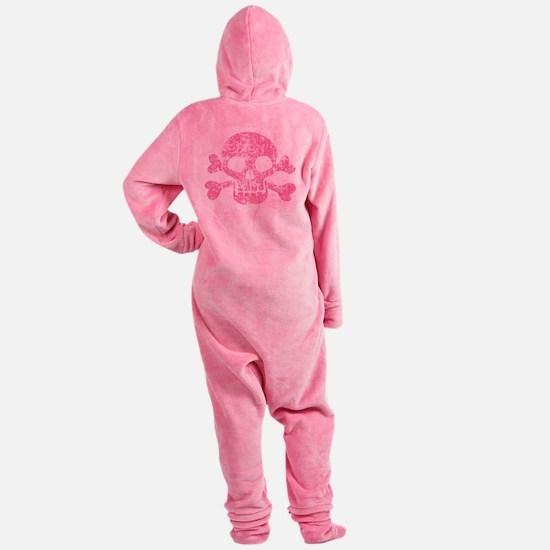 Worn Pink Skull And Crossbones Footed Pajamas