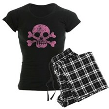 Worn Pink Skull And Crossbones Pajamas