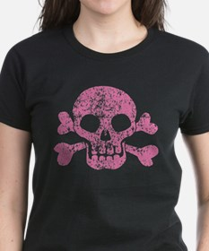 Worn Pink Skull And Crossbones Tee