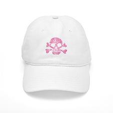 Worn Pink Skull And Crossbones Baseball Baseball Cap