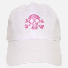 Worn Pink Skull And Crossbones Baseball Baseball Cap