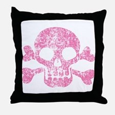Worn Pink Skull And Crossbones Throw Pillow