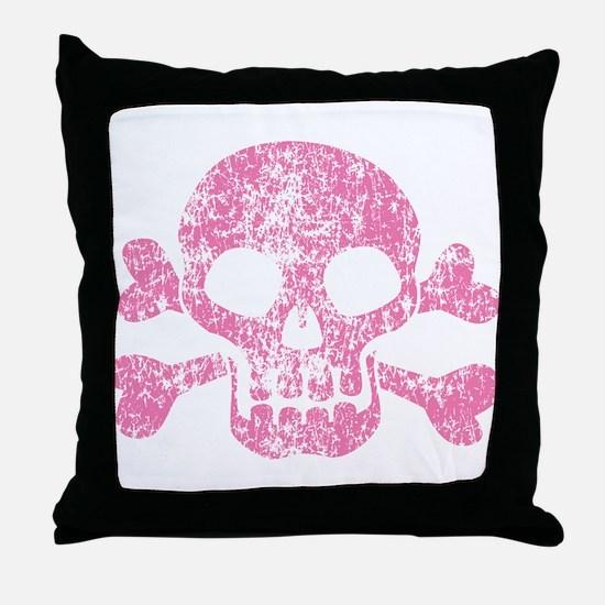 Worn Pink Skull And Crossbones Throw Pillow