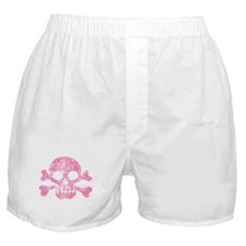 Worn Pink Skull And Crossbones Boxer Shorts