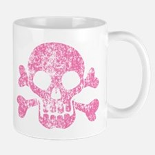 Worn Pink Skull And Crossbones Mug