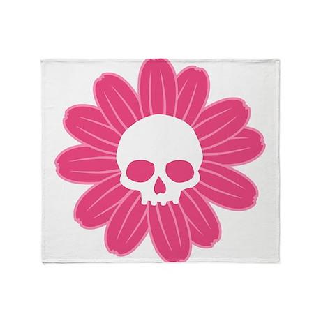 Pink Gothic Skull Flower Throw Blanket