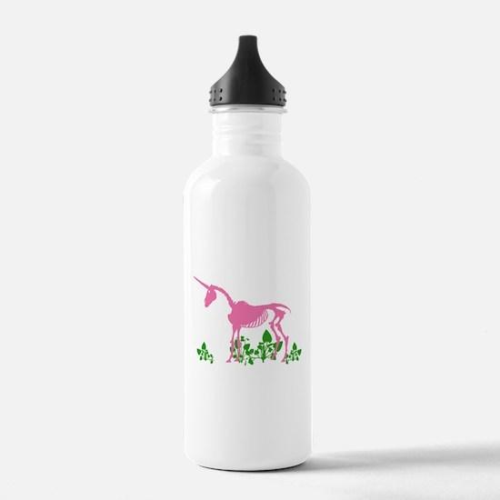 Pink Unicorn Skeleton Water Bottle