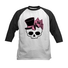 Cute Skull Top Hat And Pink Bow Tee