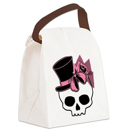 Cute Skull Top Hat And Pink Bow Canvas Lunch Bag