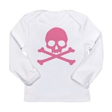 Pink Skull And Crossbones Long Sleeve Infant T-Shi