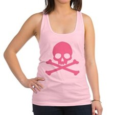 Pink Skull And Crossbones Racerback Tank Top