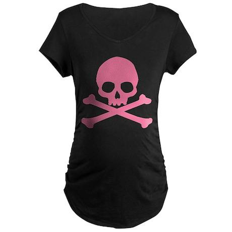 Pink Skull And Crossbones Maternity Dark T-Shirt