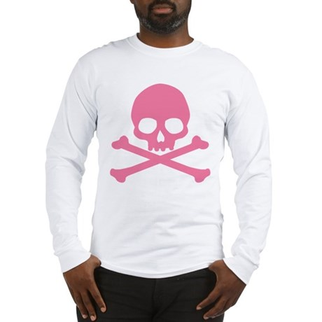 Pink Skull And Crossbones Long Sleeve T-Shirt