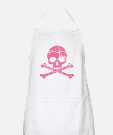 Cracked Pink Skull And Crossbones Apron