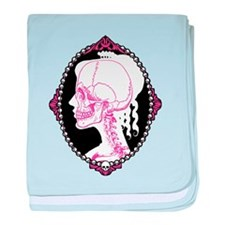 Pretty Pink Skull Cameo baby blanket