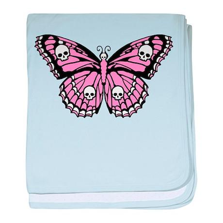 Pink Skull Butterfly baby blanket