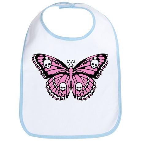 Pink Skull Butterfly Bib
